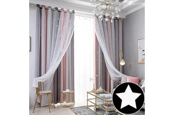 (1 Pc   52W x 84L, Stripe Pink) - ARTBECK Kids Star Blackout Curtains Lace Sheer Curtains Hollow-Out Stars Curtains Double Layer Window Blackout Drapes for Kid's Bedroom, Living Room (Stripe Pink, 1 Pc   52W x 84L)