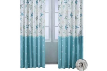 (57W x 96L Inch, Blue) - BROSHAN Cotton Linen Curtain Drapes, Modern Abstract Nautical Blue Ocean Starfish Room Window Darkening Curtain Panels, Top Grommet Treatment Draperies Thermal Insulated, 57 W x 96 L Inch, 1 Panel
