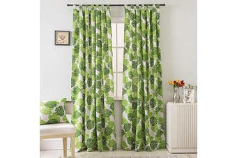 (55W x 106L Inch, Picture 3) - BROSHAN Plant Curtains for Bedroom,Tropical Palm Leaf Design Window Curtain Print Room Darkening Curtain and Drapes Green Tab Top,1 Panel, 140cm W x 270cm L