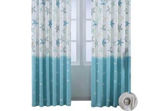 (40W x 98L Inch, Blue Darkening) - BROSHAN Print Cotton Linen Room Curtains, Modern Nautical Blue Ocean Starfish Window Darkening Curtain Panels, Top Grommet Treatment Draperies Thermal Insulated, 40 Wx 98 L, 1 Panel,