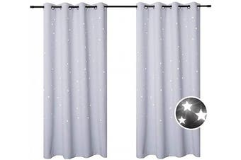 (52*63, Greyish White) - BUZIO 2 Panels Twinkle Star Curtains with 2 Tiebacks, Thermal Insulated Blacout Curtains with Punched Out Stars for Space Themed Nursery and Bedroom (130cm x 160cm , Greyish White)