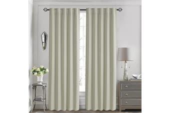 (130cm  x 210cm , Beige) - Aquazolax Basic Rod Pocket Blackout Curtains Thermal Insulated Window Panel Drapes Room Darkening for Gallery, 1 Pair, 130cm x 210cm , Beige