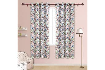 (130cm  x 180cm , Puppy) - Deconovo Cute Puppies Print Grommet Top Kids Bathroom Curtains Thermal Insulated Room Darkening Blackout Window Panels 130cm x 180cm 2 Panels