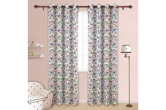 (130cm  x 240cm , Puppy) - Deconovo Dogs Print Thermal Insulated Blackout Curtains Baby Room Toddler Room Cute Window Panels 130cm x 240cm 2 Panels