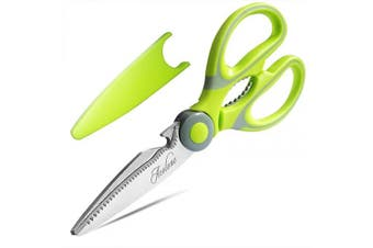 (Light Green) - Kitchen Shears, Acelone Premium Heavy Duty Shears Ultra Sharp Stainless Steel Multi-function Kitchen Scissors for Chicken/Poultry/Fish/Meat/Vegetables/Herbs/BBQ… (Light Green)
