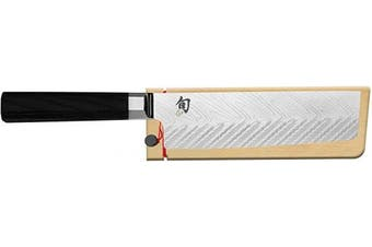 Shun Dual Core 17cm . Nakiri with Premium Stainless Steel Blade and Ebony PakkaWood Handle; Go-To Vegetable Knife for Easier Meal Preparation; Traditional Japanese Saya Included for Safe Storage