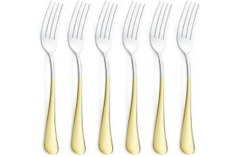 (Gold Table Fork Set 6 Piece) - 6 Piece Dinner Fork Set 24K Gold Plated Handle Stainless Steel Silverware Flatware Cutlery Forks Only Bulk Open Stock Table fork Serving for 6 Mirror Finish Dishwasher Safe 20cm