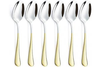 (Gold Dinner Spoon Set 6 Piece) - 6 Piece Dinner Spoon Set 24K Gold Plated Handle Stainless Steel Silverware Flatware Cutlery Spoons Only Bulk Open Stock Dessert Spoon Serving for 6 Mirror Finish Dishwasher Safe 18cm