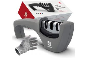 (Gray) - Kitchen Knife Sharpener - 3 Stage Knife Sharpening Tool Sharpens Chef's Knives - Kitchen Accessories Help Repair, Restore and Polish Blades Quickly, Food Safety Cut Resistant Glove Included, Grey