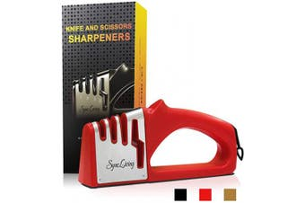 (Red) - Sync Living Knife and Scissor Sharpeners,4 Stage Knife Sharpener, 4-in-1 Knife and Scissors Sharpener with Diamond, Ceramic, Tungsten, Kitchen Tools for Kinds of Knives, Red