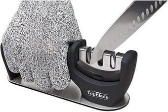 TopBlade 2020 – Upgraded 3-stage Kitchen Knife Sharpener to Restore, Sharpen and Polish Steel & Ceramic Blades – Improved Safety & Stability - Cut Resistant Glove Included