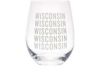 (Wisconsin Grey) - Wisconsin Repeating Grey 470ml Glass Wine Tumbler