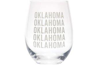 (Oklahoma Grey) - Oklahoma Repeating Grey 470ml Glass Wine Tumbler