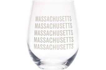 (Massachusetts Grey) - Massachusetts Repeating Grey 470ml Glass Wine Tumbler