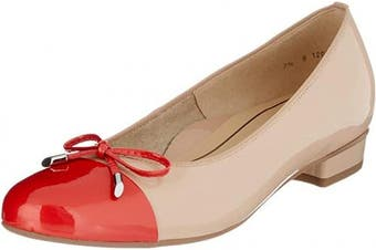 (6.5 UK Narrow, Beige Corallo Nude 96) - ARA Women's Bari Closed Toe Ballet Flats