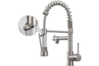 (Brushed Nickel) - Aimadi Kitchen Faucet with Pull Down Sprayer,Commercial Single Handle High Arc Stainless Steel Brushed Nickel Kitchen Sink Faucet
