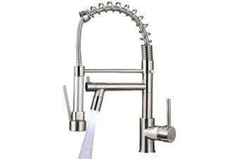 (Brushed Nickel-LED) - Aimadi Commerical Kitchen Faucet with Sprayer,Single Handle Pull Down Sprayer Kitchen Sink Faucet with LED Light Two Spout,Brushed Nickel