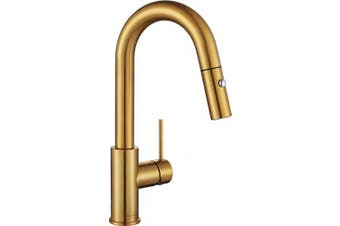 (Brushed Gold) - AguaStella AS59BG Brushed Gold Bar Faucet or Prep Kitchen Sink Faucet with Pull Down Sprayer and Single Handle