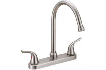 (Without Sprayer, Brushed Nickel) - EZ-FLO 10199 Kitchen Faucet Two Handles, Brushed Nickel