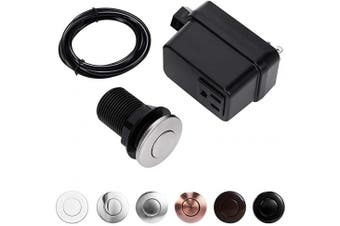 (SHORT/5.1cm , Stainless Steel Brushed) - CLEESINK Garbage Disposal Air Switch Kit Sink Top Switch, Stainless Steel Brushed, SHORT/5.1cm Button