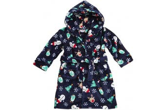 (6 - 12 Months, Navy) - BABY TOWN Baby Boys Girls Novelty Fleece Dressing Gown Robe Christmas Xmas Gift