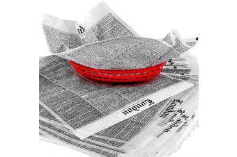 Avant Grub Deli Paper 300 Sheets. Turn Your Backyard Fish Fry Party into a British Pub with Newsprint Food Wrapping Papers. Wax Coated 12x16 Basket Liners Prevent Food Stains!