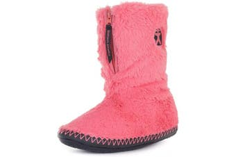 (7/8 UK, Coral Black) - Bedroom Athletics Women's Monroe Faux Fur Slipper Boots