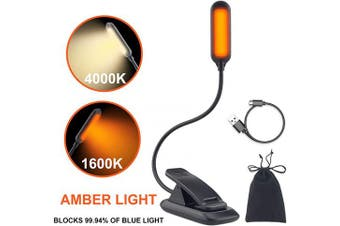 HONWELL Book Reading Light, Amber Book Light, 2 Light Colour with Brightness Dimmable Sleep Aid Lights, 1600K Bed Reading Light, 4000K Natural Light, Rechargeable Book Light for Kids