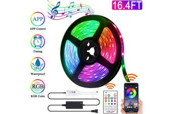 (5m) - Led Strip Lights,Flexible Led Light Strip Bluetooth Control 5m RGB 5050 Colour Changing Rope Lighting, Tape Lights Kit with Remote Controller for TV, Bedroom, Kitchen, Desk Decoration