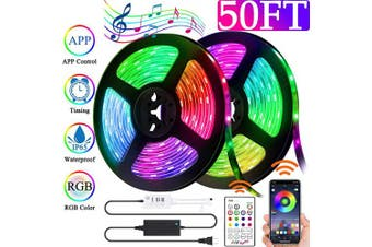 (15m) - Led Strip Lights Kit 50ft(15M), Flexible Strip Lights SMD 5050 RGB with Bluetooth App Controller, Tape Lights Kit Sync to Music Rope Lights with IR Remote for Party, Home, Bedroom Decor (50ft)