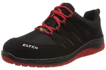 (35) - ELTEN MADDOX Black Red Low S3 Mens Sports Lightweight Safety Shoes Black Red Steel Toe Cap, 35, black/red