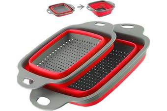 (Red-2) - Collapsible Colander Set - 2 Folding Strainer Sizes 20cm - 1.9l and 24cm - 1.9l,Dishwasher Safe - Perfect for Draining Pasta, Vegetable and Fruit