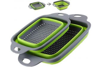 (Green-2) - Collapsible Colander Set - 2 Folding Strainer Sizes 20cm - 1.9l and 24cm - 1.9l,Dishwasher Safe - Perfect for Draining Pasta, Vegetable and Fruit