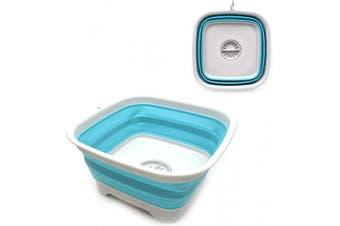 (1, Grey/Bright Blue) - SAMMART 9.3L ( 9.3l) Collapsible Dishpan with Draining Plug - Foldable Washing Basin - Portable Dish Washing Tub - Space Saving Kitchen Storage Tray (1, Grey/Bright Blue)