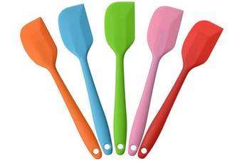 "(5x8.5"" spatulas) - MOACC Silicone Spatula Heat Resistant Non-Stick Flexible Rubber With Solid Stainless Steel Kitchen Essential Gadget Small Premium Scraper Spoon Set of 5 (Random Colour)"