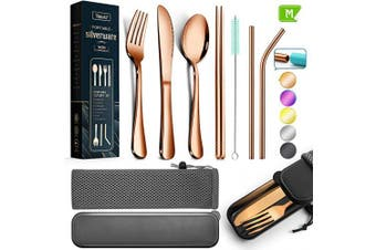 (Medium, Rose Gold) - Teivio Reusable Camping Travel Utensils with Case Cutlery Flatware Set of Stainless Steel Fork, Spoon, Knife, Chopstick,Metal Straws with Silicone Tips and Brush(Rose Gold, Portable Size)