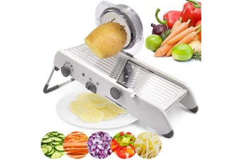 (White) - 18 Types Adjustable Mandoline Slicer Stainless Steel Manual Cutter Vegetable Grater Julienne Slicer Fruit Waffle Kitchen Potato Cutter (White)