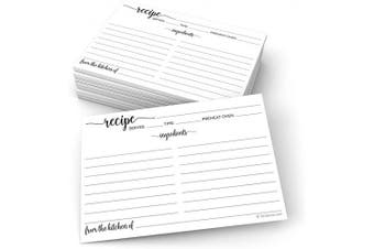 (Standard (4x6), From Kitchen - Ing Front, Dir Back) - 321Done Recipe Cards (Set of 50) 10cm x 15cm - White - From the Kitchen Of - Large Double-Sided Premium for Weddings, Bridal Shower, Baby - Made in USA - Minimalist
