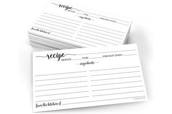 (X-Small (3x5), From Kitchen - Ing Front, Dir Back) - 321Done Small Recipe Cards (Set of 50) From the Kitchen Of 7.6cm x 13cm Black and White Minimalist for Wedding, Bridal Shower Double-Sided - Made in USA