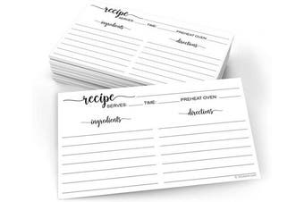 (X-Small (7.6cm  x 13cm ), Directions on Back) - 321Done Small Recipe Cards (Set of 50) 7.6cm x 13cm Black and White Minimalist Design - Premium Double-Sided - Made in USA