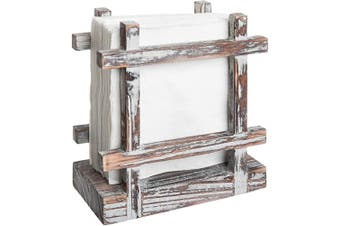 (Torched Wood) - Rustic Torched Wood Upright Napkin Holder, Table Top Paper Towel Dispenser