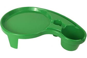 (1, Kelly Green) - Arron Kelly Party Pals - One Handed Drink Holder, Napkin, Cutlery & Food Serving Tray with Hidden Handle - Breakfast Table for 1 (1, Kelly Green)