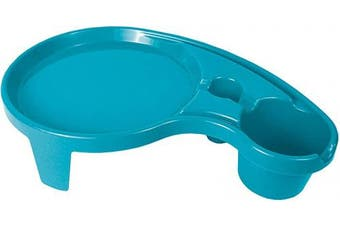 (1, Ocean Blue) - Arron Kelly Party Pals - One Handed Drink Holder, Napkin, Cutlery & Food Serving Tray with Hidden Handle - Breakfast Table for 1 (1, Ocean Blue)