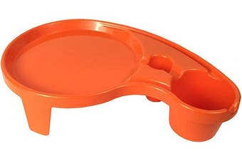(1, Orange) - Arron Kelly - Party Pals - One Handed Drink Holder, Napkin, Cutlery & Food Serving Tray with Hidden Handle - Orange - Breakfast Table for 1