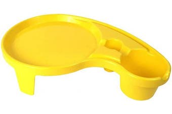 (1, Yellow) - Arron Kelly Party Pals - One Handed Drink Holder, Napkin, Cutlery & Food Serving Tray with Hidden Handle - Breakfast Table for 1 (1, Yellow)