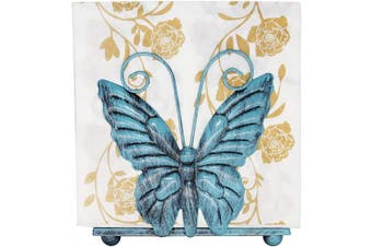 (Turquoise Style) - Owlgift Metal Butterfly Shaped Napkin Holder, Tabletop Paper Towel Dispenser, w/Freestanding Tissue Stand, Storage,Turquoise