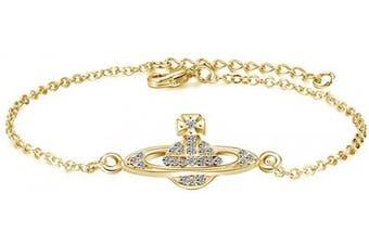 (Gold) - Charming Crystal Silver Gold Rose Gold Saturn Pendant Adjustable Bracelet For Women Lady Girl Gift