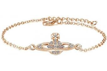 (Rose Gold) - Charming Crystal Silver Gold Rose Gold Saturn Pendant Adjustable Bracelet For Women Lady Girl Gift