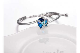 (Blue) - Sterling Silver Love Heart Adjustable Bangle Bracelet for Women with Blue Purple Crystals from , Jewellery Gifts for Mum Wife Girlfriend