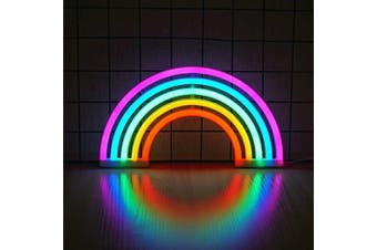 (M) - Rainbow Neon Light, Cute Colourful Neon Rainbow Sign, Battery or USB Powered Night Light as Wall Decor for Kids Room, Bedroom, Christmas, Festival, Party (M)